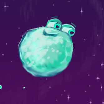 Snowball floating in space